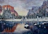 Yosemite Valley, watercolor painting