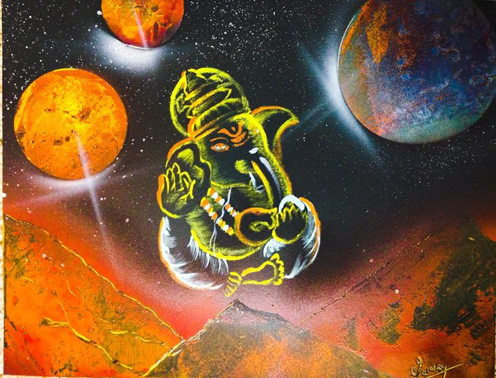 Ganesha Spray Paint Art - Venky's Gallery