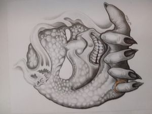 Black and gray demon with blue ring