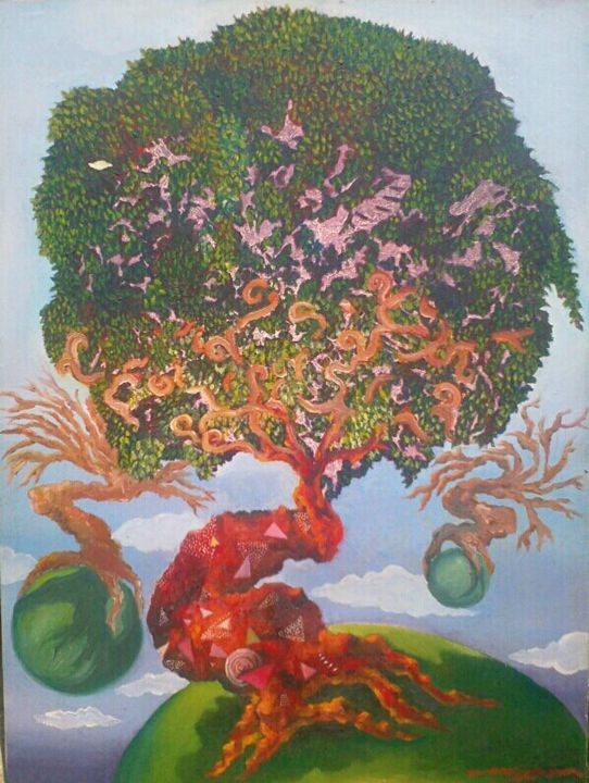 earth tree - canvas painting