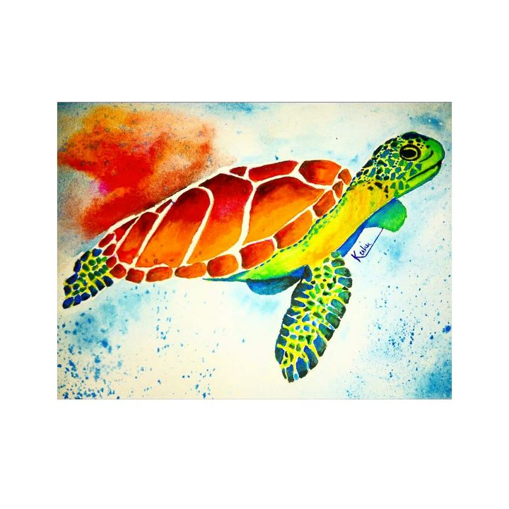 Turtle watercolor painting - kuhu