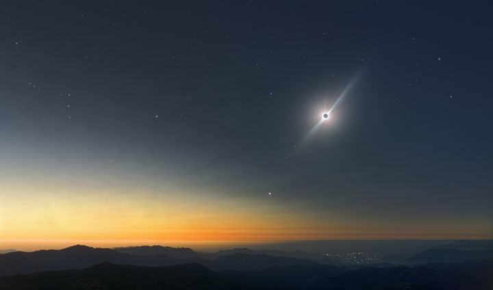 Eclipsed Sun and constellations - Great American Eclipse