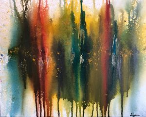 Abstract color painting on canvas