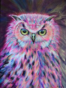 Abstract Acrylic Owl Painting