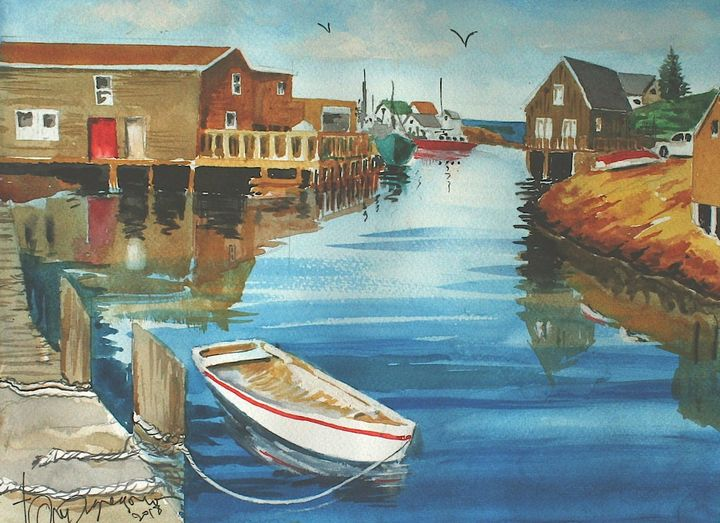 A Dock by the Bay - Watercolors byTony Digregorio