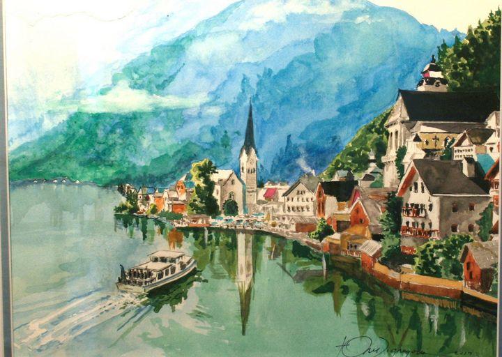 Austrian Lake Scene - Watercolors byTony Digregorio