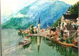 Austrian lake in watercolor