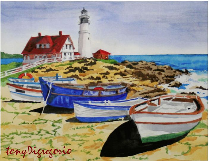 Boats are in - Watercolors byTony Digregorio