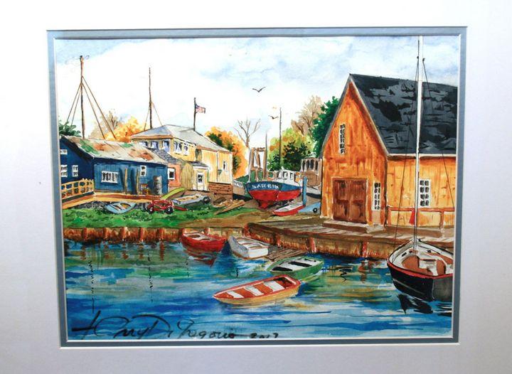 Northeast boat yard - Watercolors byTony Digregorio