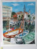 watercolor of boats in dock