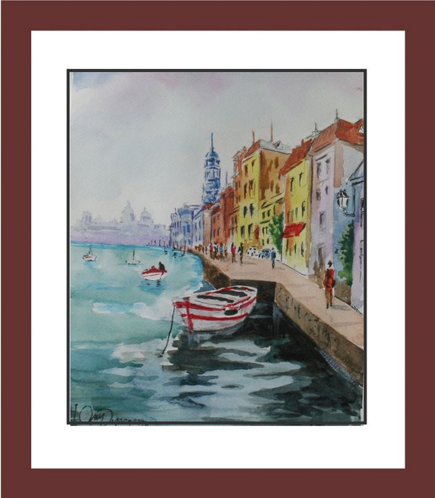 A walk at dockside - Watercolors byTony Digregorio