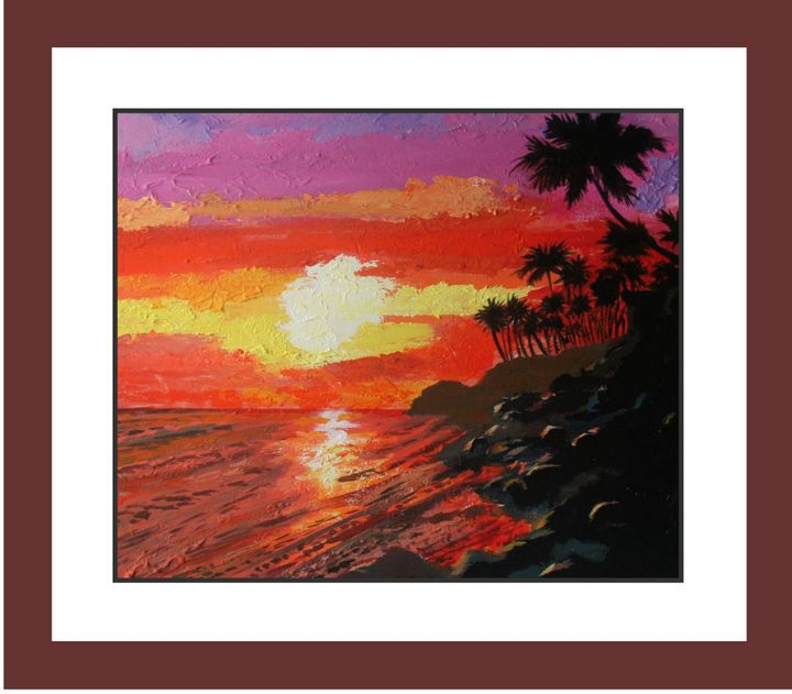 Sunset over Hawaii/acrylic on canvas - Watercolors byTony Digregorio