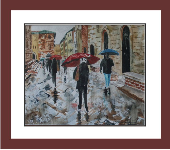 Rainy Day in Europe - Watercolors byTony Digregorio