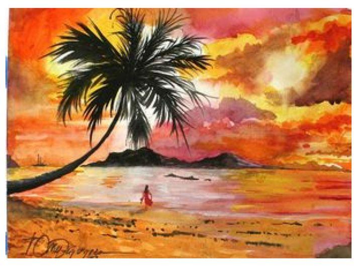 Sunset in Hawaii - Watercolors byTony Digregorio