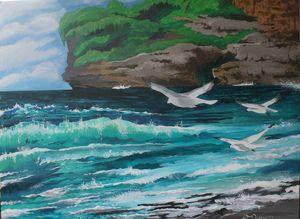 Seagulls on aqua waters