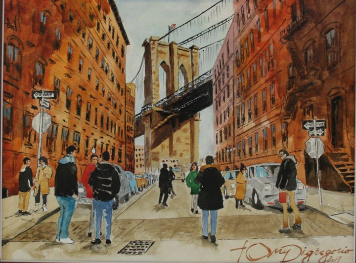 A view of the Brooklyn bridge. - Watercolors byTony Digregorio