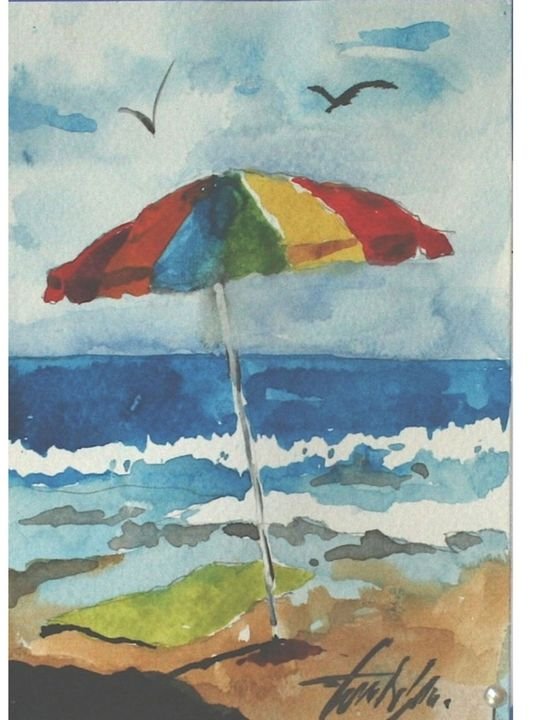 Just my umbrella original art - Watercolors byTony Digregorio