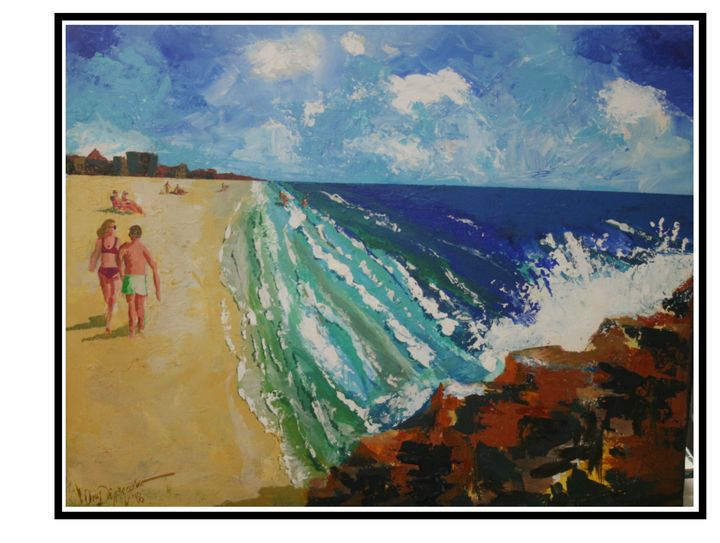 """Beach Day"" acrylic on canvas - Watercolors byTony Digregorio"