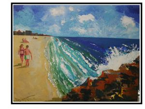 "SOLD ""Beach Day"" acrylic on canvas"