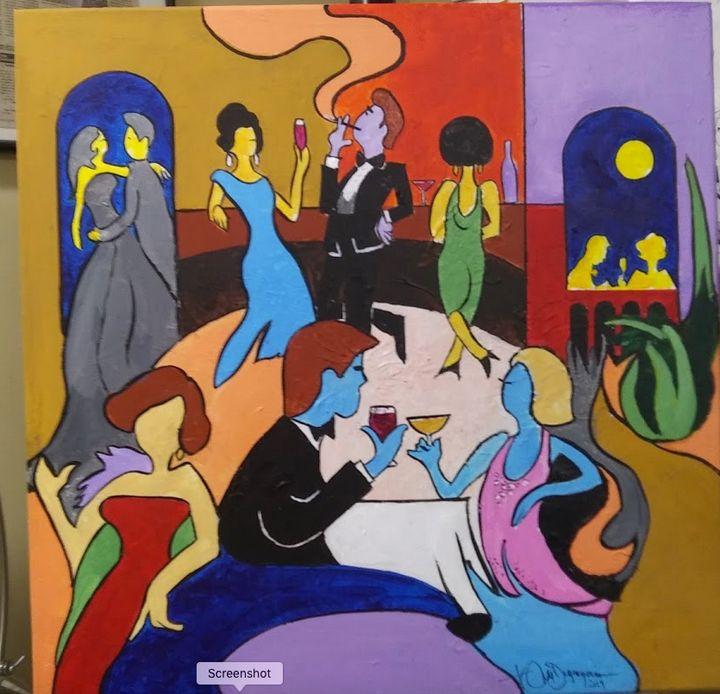 At the bar - Watercolors byTony Digregorio