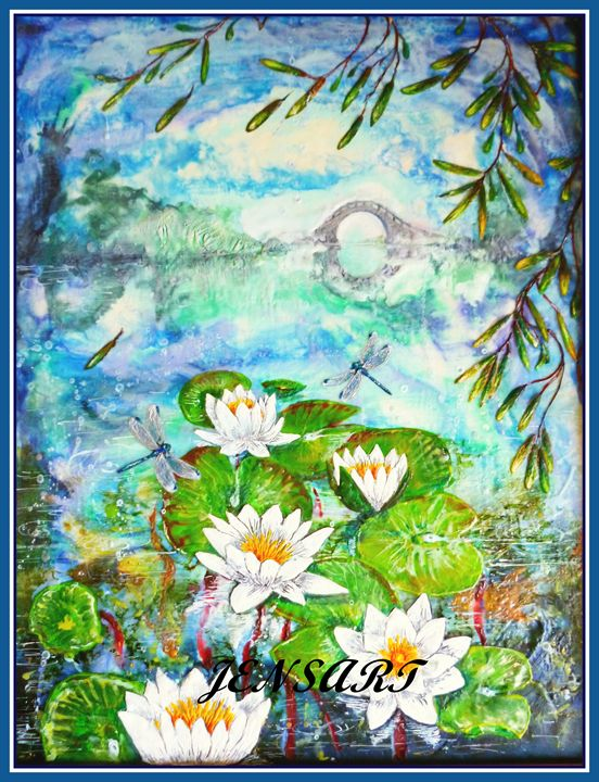 Dragonflies and Waterlilies. - Jensart