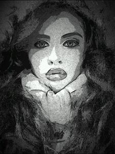 Girl On A Pencil Painting