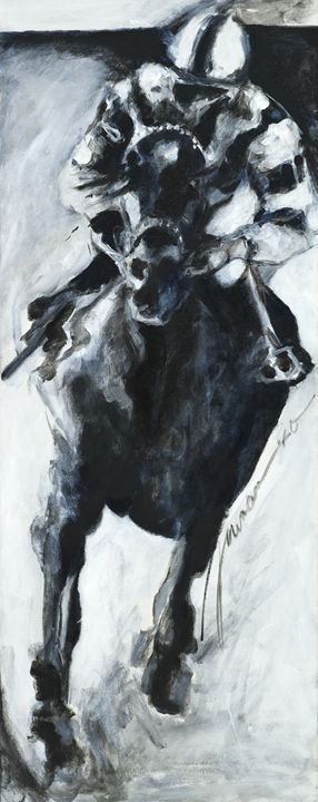 Racehorse and Jockey - francine mabie