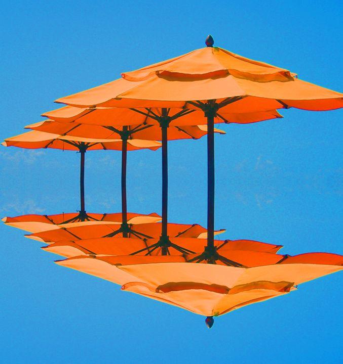 Umbrellas on Blu Sky - francine mabie