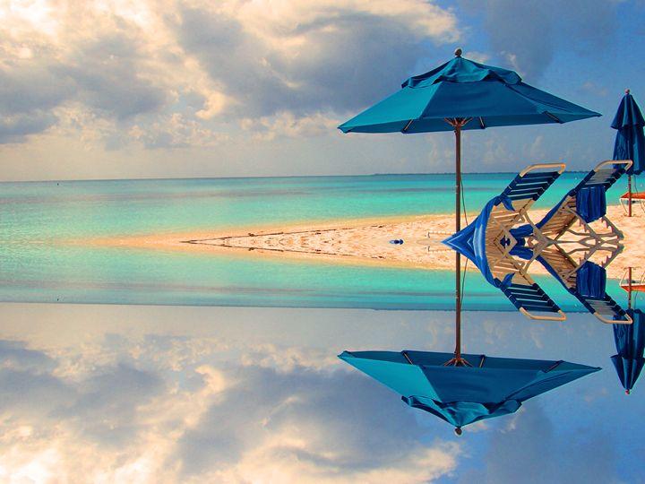 Blue Umbrellas in an Opal sea - francine mabie