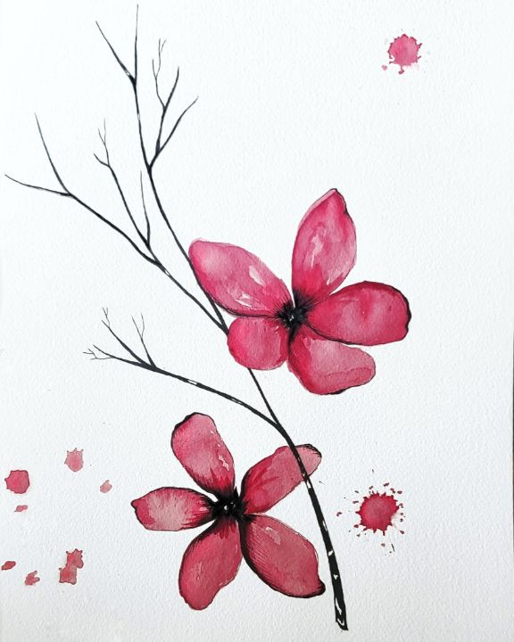 Red Flowers with Twig - Sarah Amy Jones