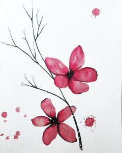 Red Flowers with Twig