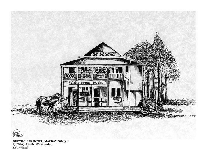 The Greyhound Hotel, Bakers Creek. - Rob Wiezel Art