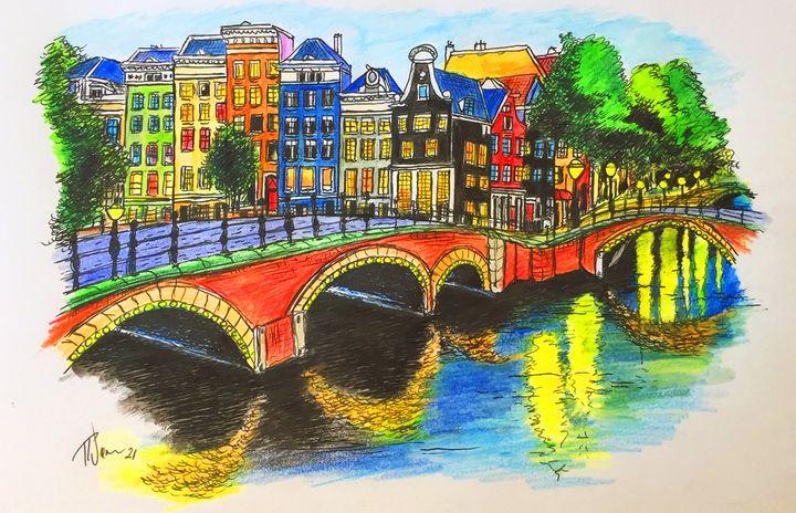 Amsterdam Canals Reflections. - Rob Wiezel Art