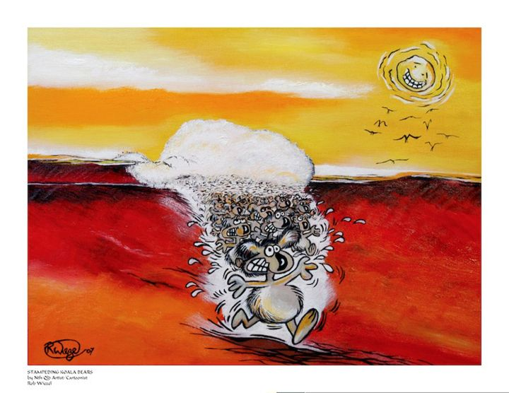 Stampeding Koala Bears - Rob Wiezel Art