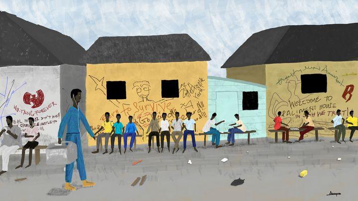 A Ghetto Neighborhood Scene - Charles Paddy Sawyerr Junior