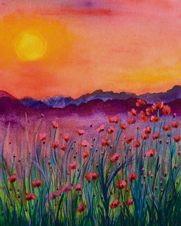 Sunsets & Poppies - Barrie Stark Blou's Art