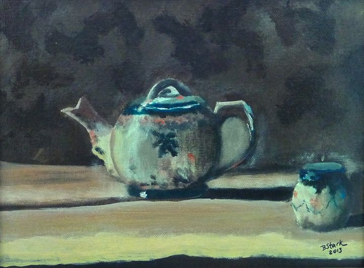 Still Life with Teapot and Sugar - Barrie Stark Blou's Art