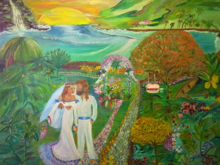 Married in Maui, - Maui Island Shell Visionary Artwork
