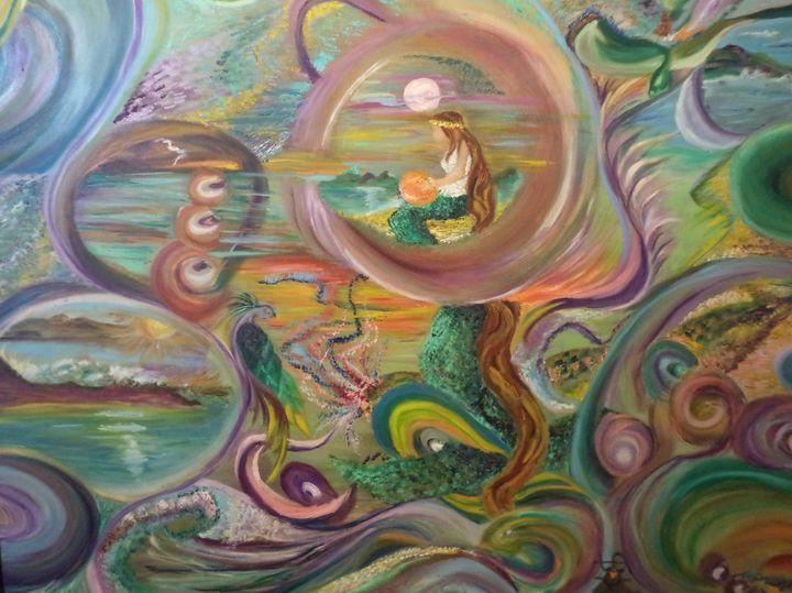 Mermaid World - Maui Island Shell Visionary Artwork