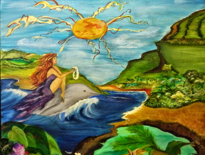 Maui Dolphin Surfing - Maui Island Shell Visionary Artwork