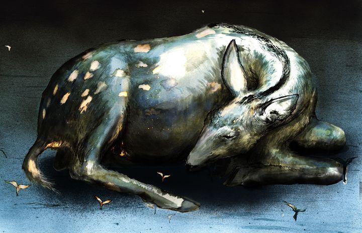 Sleeping deer - Tim Douel Art
