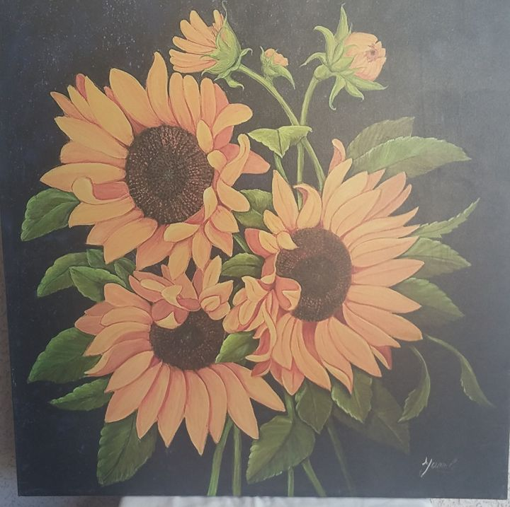 Three Sunflowers 36x36 original oil - YAMILE GAEZ