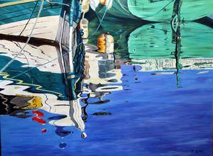 Beautiful boats and water reflection