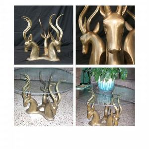 Bronze Antelopes, glass table base