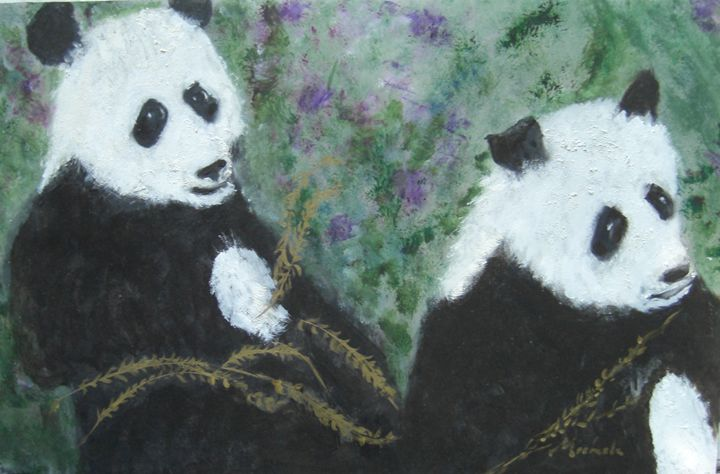 Pandas and the Golden Bamboo - Michaela Galleries