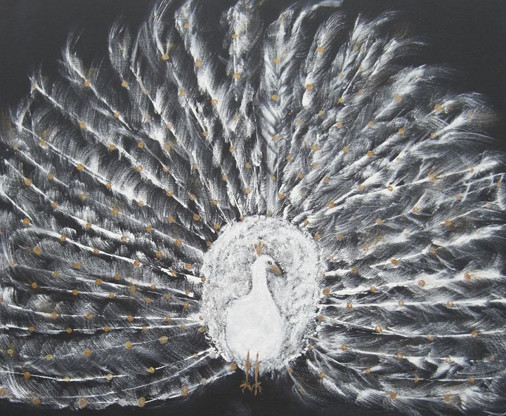 White and Gold Peacock - Michaela Galleries
