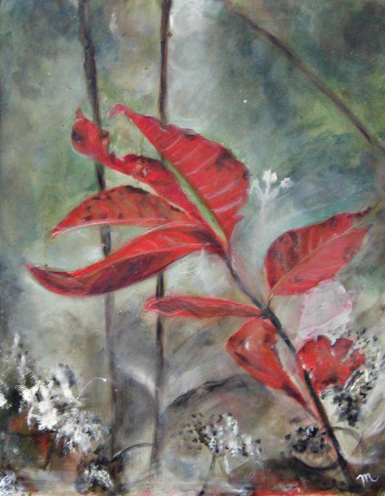 Red Leaves in Morning Mist - Michaela Galleries