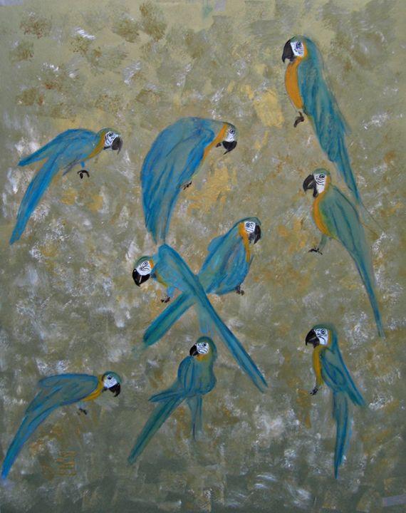 Golden Blue Macaws - Michaela Galleries