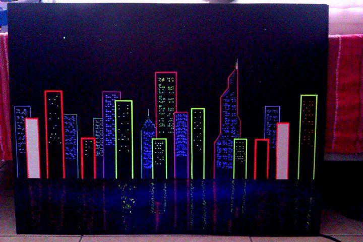 uv reactive painting cityscape - SilentCityscapes