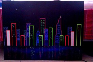 uv reactive painting cityscape
